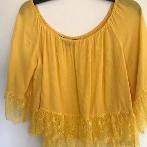 Zara yellow off shoulder crop top w lace trim